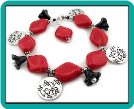 Fire-Engine Red and Black Jangly Charm Bracelet