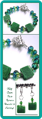 Kelly Green Deco Squares Beaded Bracelet & Earrings