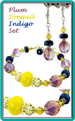 Plum, Jonquil, and Indigo Bracelet & Earrings