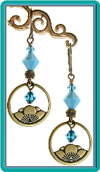 Lotus Blossom and Turquoise Crystal Earrings