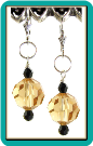 Crystal Ball Earrings:  Champagne with Jet