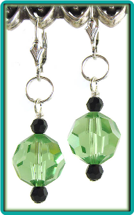 Crystal Ball  Earrings: Peridot with Jet