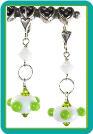 Lime Dots on White Lampwork Satellite Earrings
