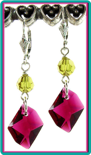 Cosmic Ruby and Lime Unique Crystal Earrings