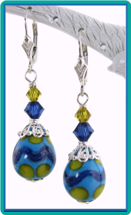 Blue, Turquoise and Lime Teardrop Egg Drop Earrings