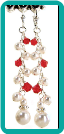White Pearl and Red Crystal Cluster Earrings