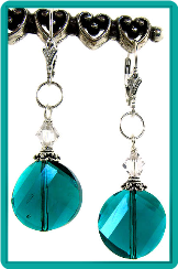 Teal Crystal Wafers Earrings