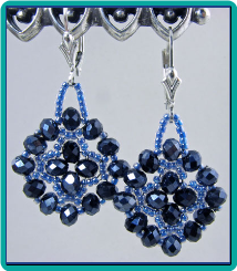 Metallic Blue Medallion Earrings