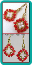 Cherry Red, Pearly White, and Gold Crystal Medallion Earrings