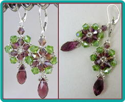 Green and Amethyst Crystal Spokes Earrings