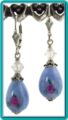 Pearly Blue Teardrop Lampwork Earrings
