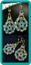 Frosty Blue and Champagne Gold Medallion Earrings