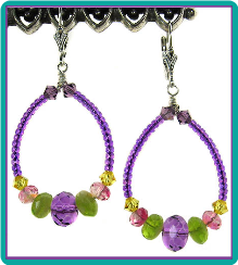 Purple Glow Beaded Hoop Earrings
