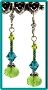 Indicolite Lime Crystal Drop Earrings