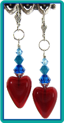 Red Opal Hearts & Turquoise Crystals Earrings
