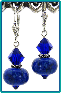 Cobalt Lampwork and Crystal Earrings