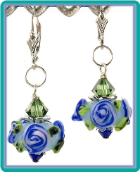 Blue Roses Handmade Lampwork Earrings