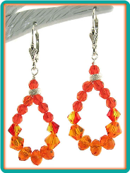Orange Crystal Hoop Earrings