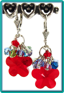 Siam Red Daisy Crystal Earrings