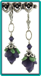 Purple Rose Lampwork Earrings