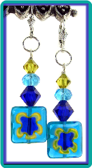 Aqua & Cobalt Millefiori Square Earrings