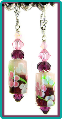 Amethyst and Pink Flower Barrel  Earrings