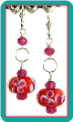 Tomato and Raspberry Floral Lampwork Earrings