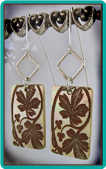 Maple Leaves on Shell Unique Handmade Earrings