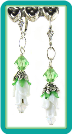 White Rosebud and Peridot Crystal Earrings