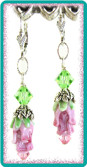 Pink Rosebud and Peridot Crystal Earrings
