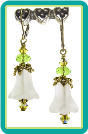 Frosted White Bellflower Earrings with Lime Crystals