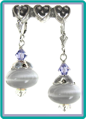 Soft Lavender Gray Fiber Optic Earrings
