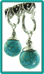 Turquoise Stones on Hoops Earrings