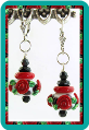 Red Roses Dalmatian Earrings