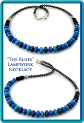 """The Blues"" Men's or Women's Handmade Lampwork Bead Necklace"