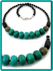 Turquoise, Picasso Jasper and Onyx Handmade Necklace