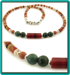 Carnelian Wheels and Green Aventurine Necklace