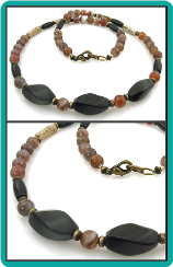 Onyx, Botswana Agate and Picture Jasper Mens Bead Necklace