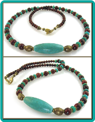 Turquoise Oval, Antiqued Brass, and Red Jasper Bead Necklace
