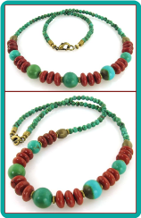 Turquoise and Red Jasper Men's Bead Necklace
