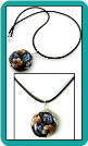 Floral Lampwork Pendant on Black Cord Necklace