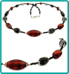 Red and Black Tiger Necklace