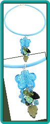 Aqua Flower Cluster Dangle Necklace