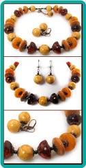 Amber Baubles Big Bead Necklace & Earrings