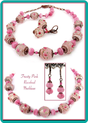 Frosty Pink Rosebud Lampwork Necklace