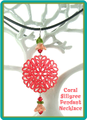 Coral Filigree Pendant Necklace