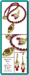 Ruby Red Roses on Gold Vase Handcrafted Necklace