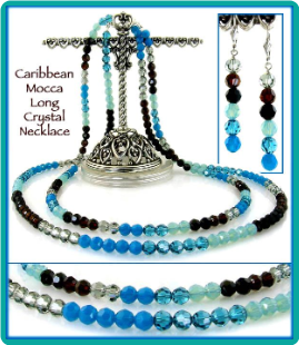 Caribbean Mocha Crystal Necklace (Long, Double Strand) and Earrings