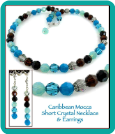 Caribbean Mocha Crystal Necklace and Earrings