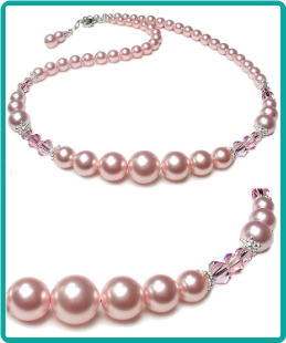 Perfectly Pink Pearl and Crystal Necklace